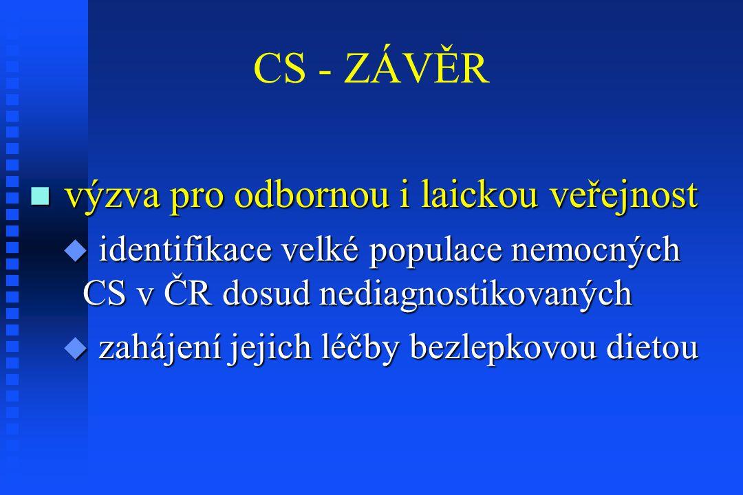CS - ZÁVĚR výzva pro odbornou i laickou veřejnost výzva pro odbornou i laickou veřejnost  identifikace velké populace nemocných CS v ČR dosud nediagn