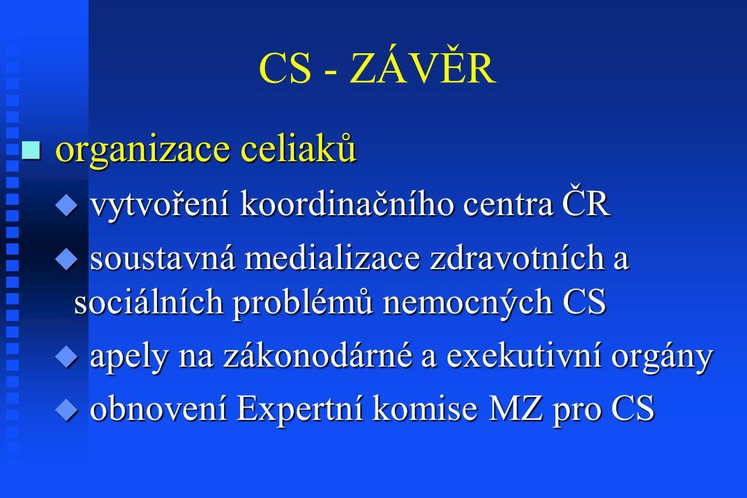 CS - ZÁVĚR organizace celiaků organizace celiaků  vytvoření koordinačního centra ČR  soustavná medializace zdravotních a sociálních problémů nemocný