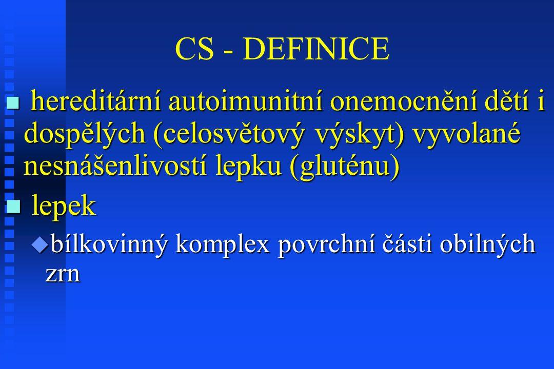 CS - DEFINICE štěpné produkty lepku (gliadiny) štěpné produkty lepku (gliadiny)  geneticky vnímaví jedinci  nepřiměřená reakce buněk imunitního systému (T-lymfocyty)  trvalá tvorba protilátek ke gliadinům i bílkovinám vlastního organizmu (autoprotilátky)