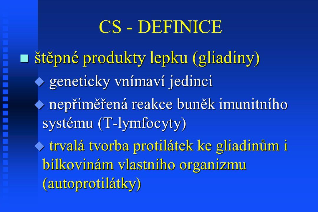 CS - DEFINICE štěpné produkty lepku (gliadiny) štěpné produkty lepku (gliadiny)  geneticky vnímaví jedinci  nepřiměřená reakce buněk imunitního syst