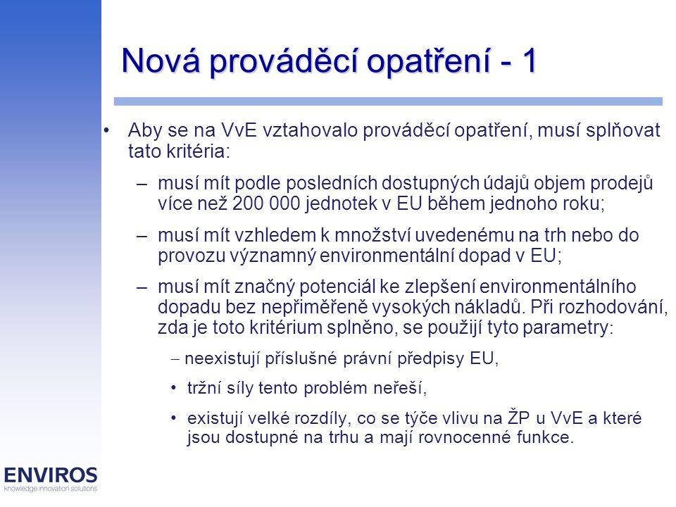 Nová prováděcí opatření - 1 Aby se na VvE vztahovalo prováděcí opatření, musí splňovat tato kritéria: –musí mít podle posledních dostupných údajů obje
