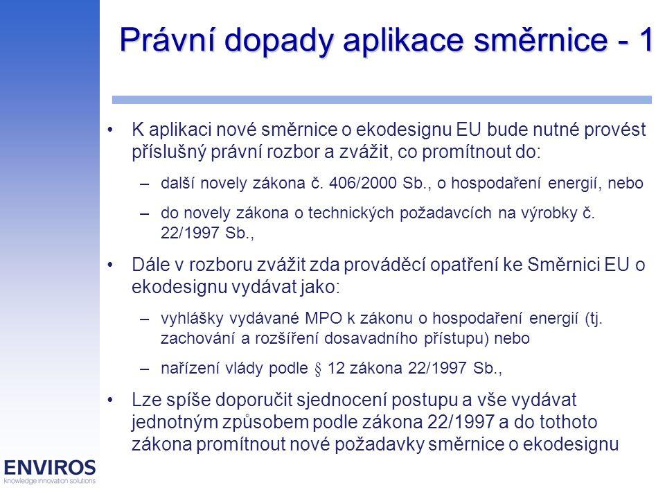 Právní dopady aplikace směrnice - 1 K aplikaci nové směrnice o ekodesignu EU bude nutné provést příslušný právní rozbor a zvážit, co promítnout do: –d