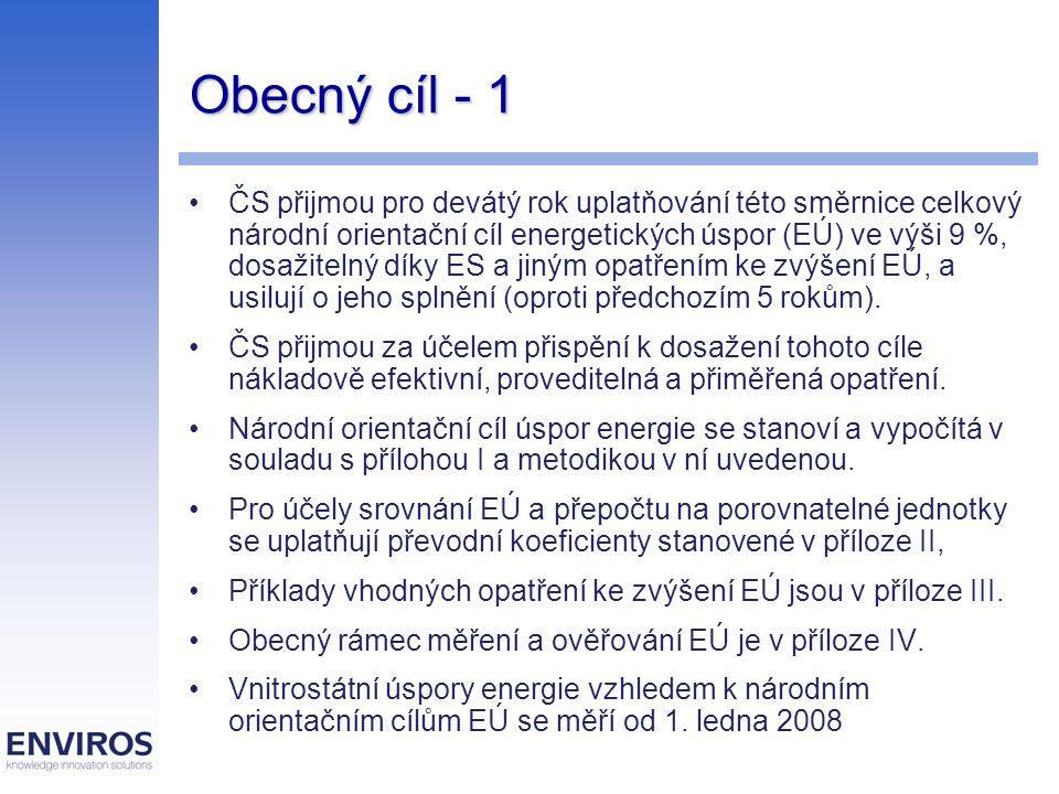 Obecný cíl - 1 ČS přijmou pro devátý rok uplatňování této směrnice celkový národní orientační cíl energetických úspor (EÚ) ve výši 9 %, dosažitelný dí