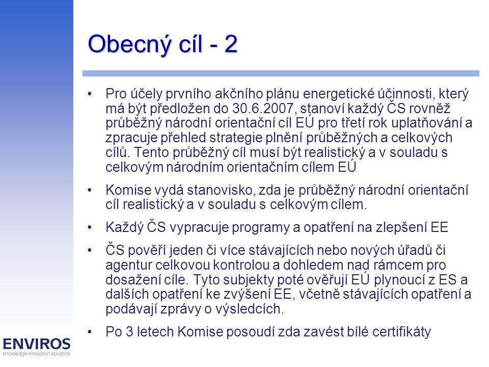 Obecný cíl - 2 Pro účely prvního akčního plánu energetické účinnosti, který má být předložen do 30.6.2007, stanoví každý ČS rovněž průběžný národní orientační cíl EÚ pro třetí rok uplatňování a zpracuje přehled strategie plnění průběžných a celkových cílů.