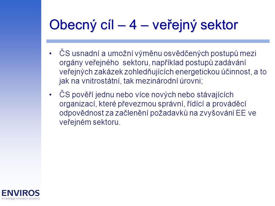 Obecný cíl – 4 – veřejný sektor ČS usnadní a umožní výměnu osvědčených postupů mezi orgány veřejného sektoru, například postupů zadávání veřejných zak