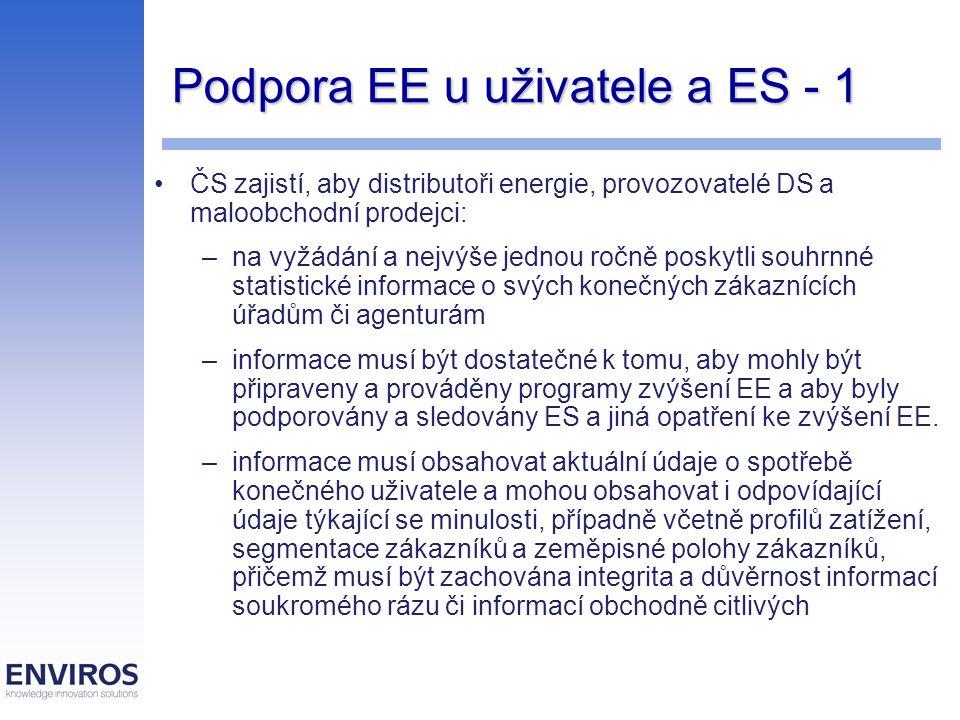 Podpora EE u uživatele a ES - 1 ČS zajistí, aby distributoři energie, provozovatelé DS a maloobchodní prodejci: –na vyžádání a nejvýše jednou ročně poskytli souhrnné statistické informace o svých konečných zákaznících úřadům či agenturám –informace musí být dostatečné k tomu, aby mohly být připraveny a prováděny programy zvýšení EE a aby byly podporovány a sledovány ES a jiná opatření ke zvýšení EE.