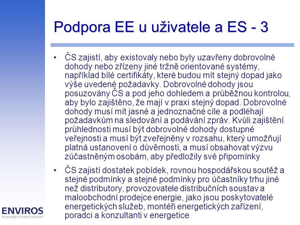 Podpora EE u uživatele a ES - 3 ČS zajistí, aby existovaly nebo byly uzavřeny dobrovolné dohody nebo zřízeny jiné tržně orientované systémy, například bílé certifikáty, které budou mít stejný dopad jako výše uvedené požadavky.
