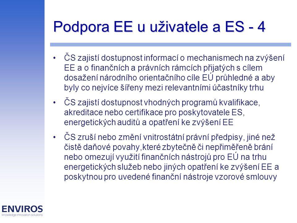 Podpora EE u uživatele a ES - 4 ČS zajistí dostupnost informací o mechanismech na zvýšení EE a o finančních a právních rámcích přijatých s cílem dosažení národního orientačního cíle EÚ průhledné a aby byly co nejvíce šířeny mezi relevantními účastníky trhu ČS zajistí dostupnost vhodných programů kvalifikace, akreditace nebo certifikace pro poskytovatele ES, energetických auditů a opatření ke zvýšení EE ČS zruší nebo změní vnitrostátní právní předpisy, jiné než čistě daňové povahy,které zbytečně či nepřiměřeně brání nebo omezují využití finančních nástrojů pro EÚ na trhu energetických služeb nebo jiných opatření ke zvýšení EE a poskytnou pro uvedené finanční nástroje vzorové smlouvy