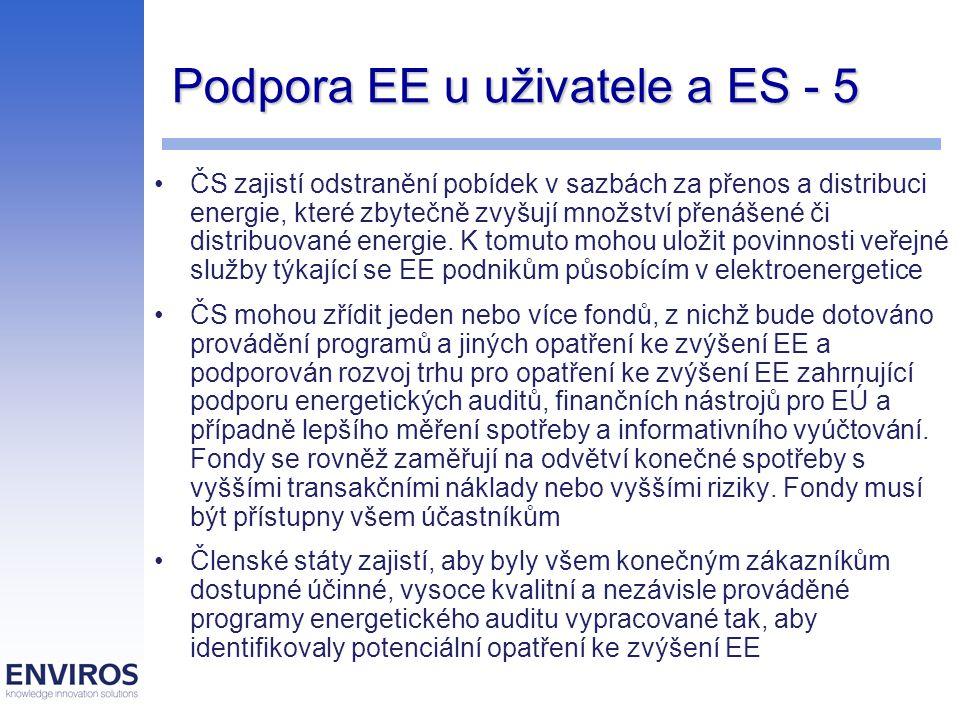 Podpora EE u uživatele a ES - 5 ČS zajistí odstranění pobídek v sazbách za přenos a distribuci energie, které zbytečně zvyšují množství přenášené či distribuované energie.