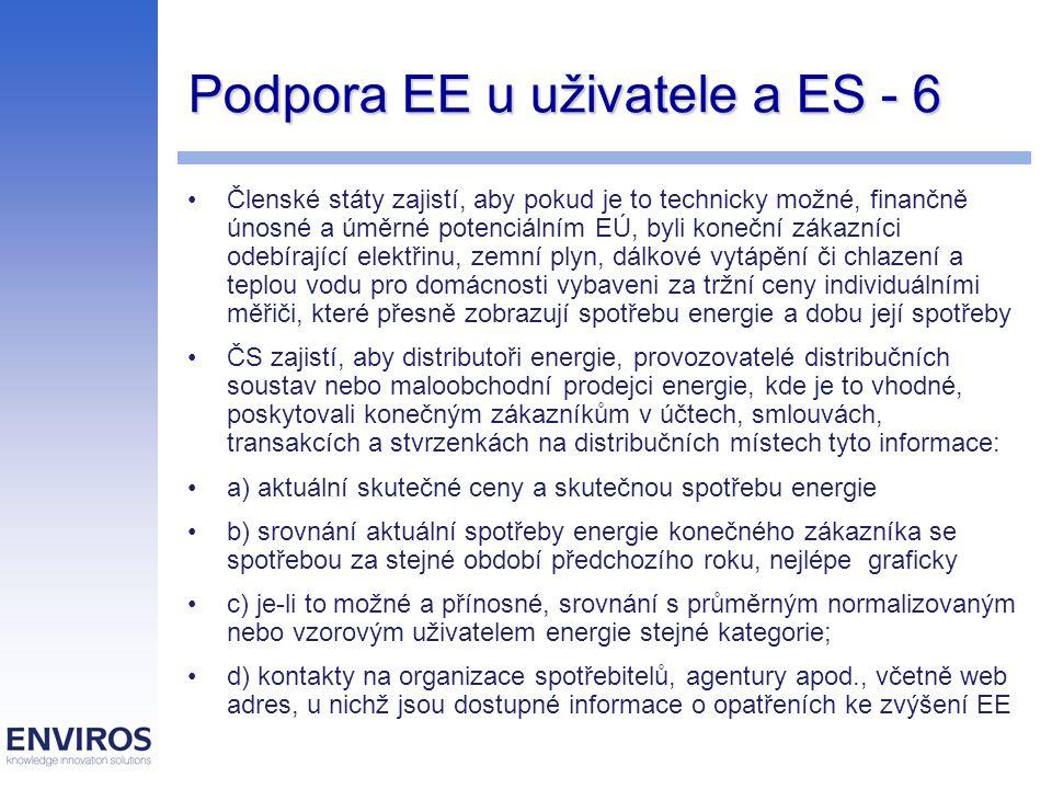 Podpora EE u uživatele a ES - 6 Členské státy zajistí, aby pokud je to technicky možné, finančně únosné a úměrné potenciálním EÚ, byli koneční zákazníci odebírající elektřinu, zemní plyn, dálkové vytápění či chlazení a teplou vodu pro domácnosti vybaveni za tržní ceny individuálními měřiči, které přesně zobrazují spotřebu energie a dobu její spotřeby ČS zajistí, aby distributoři energie, provozovatelé distribučních soustav nebo maloobchodní prodejci energie, kde je to vhodné, poskytovali konečným zákazníkům v účtech, smlouvách, transakcích a stvrzenkách na distribučních místech tyto informace: a) aktuální skutečné ceny a skutečnou spotřebu energie b) srovnání aktuální spotřeby energie konečného zákazníka se spotřebou za stejné období předchozího roku, nejlépe graficky c) je-li to možné a přínosné, srovnání s průměrným normalizovaným nebo vzorovým uživatelem energie stejné kategorie; d) kontakty na organizace spotřebitelů, agentury apod., včetně web adres, u nichž jsou dostupné informace o opatřeních ke zvýšení EE