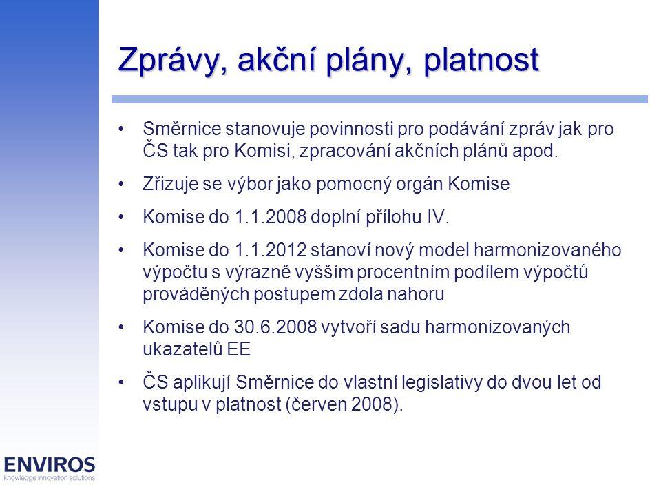 Zprávy, akční plány, platnost Směrnice stanovuje povinnosti pro podávání zpráv jak pro ČS tak pro Komisi, zpracování akčních plánů apod.