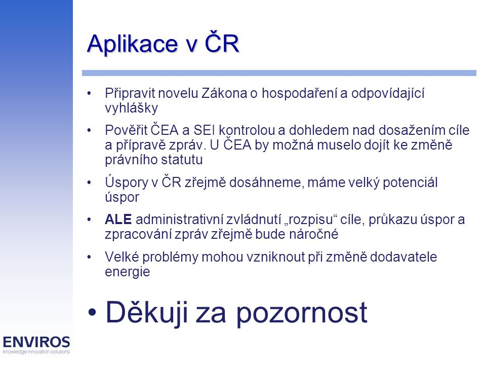 Aplikace v ČR Připravit novelu Zákona o hospodaření a odpovídající vyhlášky Pověřit ČEA a SEI kontrolou a dohledem nad dosažením cíle a přípravě zpráv