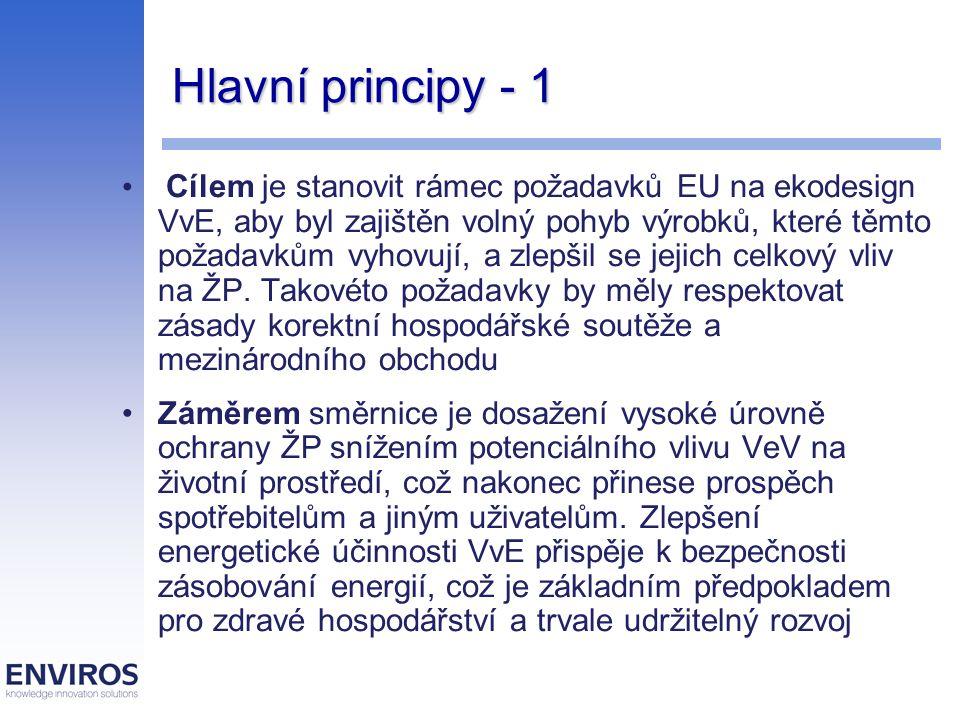 """Hlavní principy směrnice - 2 VvE splňující požadavky ekodesignu, stanovené v prováděcích opatřeních k této směrnici, by měly mít označení """"CE a obsahovat příslušné údaje, aby je bylo možné uvést na vnitřní trh k volnému pohybu Směrnice stanoví rámec pro určení ekologicky orientovaných konstrukčních požadavků na VvE Směrnice se nevztahuje na dopravní prostředky určené k přepravě osob nebo zboží a právních předpisů v oblasti nakládání s odpadem a o chemikáliích (např."""