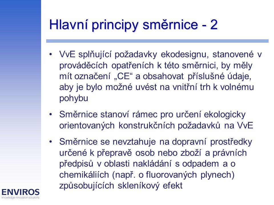 Hlavní principy směrnice - 3 Členské státy by měly : přijmout vhodná opatření, kterými zajistí, aby VvE, na něž se vztahují prováděcí opatření, mohly být uváděny na trh nebo do provozu pouze tehdy, vyhovují-li těmto opatřením a mají-li označení CE určí orgány odpovědné za dohled nad trhem a zajistí, aby měly potřebné pravomoci k přijetí vhodných opatření, která jsou jejich povinností, a aby tyto pravomoci využívaly zajistit, aby spotřebitelé a jiné zainteresované strany mohly předat příslušným orgánům připomínky týkající se shody mohou požadovat, aby informace o VvE, byly uvedeny v jejich úředních jazycích a povolí, aby byly tyto údaje poskytnuty v jednom nebo více úředních jazycích EU