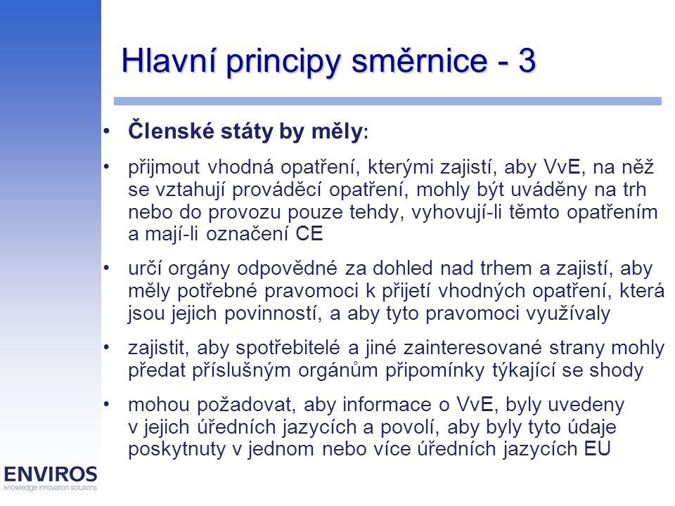 Hlavní principy směrnice - 4 Členské státy na svém území nezakáží, neomezí nebo neztíží uvádění na trh nebo do provozu VvE, který vyhovuje všem příslušným ustanovením použitelného prováděcího opatření a který má označení CE nesmějí bránit, aby byly například na veletrzích, výstavách a při ukázkách předváděny VvE, které nevyhovují ustanovením použitelného prováděcího opatření, za předpokladu, že u nich existuje zjevný náznak, že nebudou uváděny na trh nebo do provozu, dokud u nich nebude dosaženo shody stanoví sankce za porušení vnitrostátních právních předpisů přijatých podle této směrnice, které budou účinné, přiměřené a odrazující