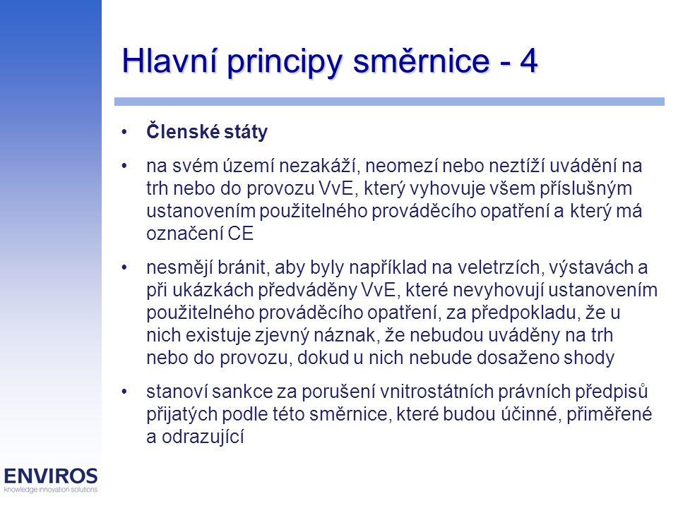 Hlavní principy směrnice - 4 Členské státy na svém území nezakáží, neomezí nebo neztíží uvádění na trh nebo do provozu VvE, který vyhovuje všem příslu