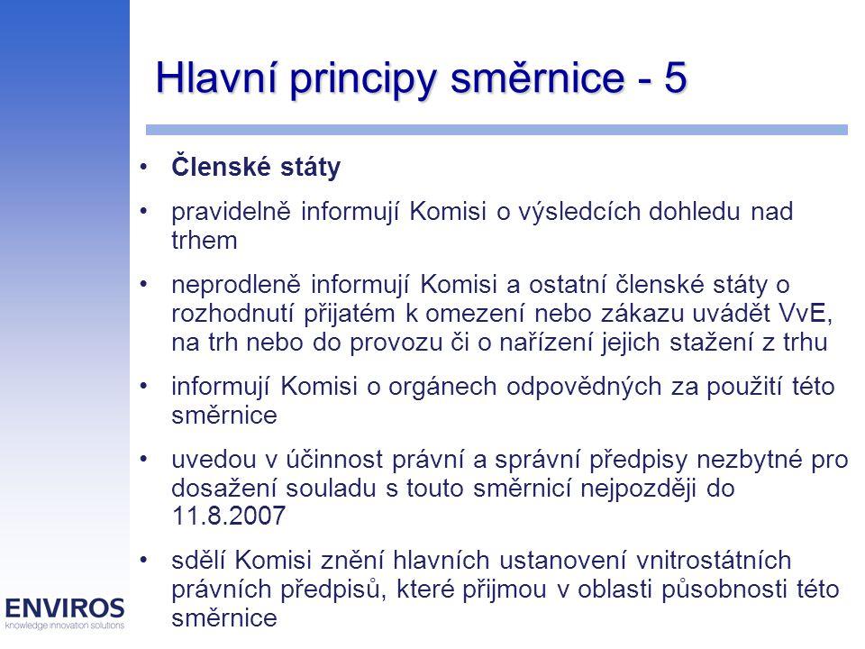 Hlavní principy směrnice - 5 Členské státy pravidelně informují Komisi o výsledcích dohledu nad trhem neprodleně informují Komisi a ostatní členské státy o rozhodnutí přijatém k omezení nebo zákazu uvádět VvE, na trh nebo do provozu či o nařízení jejich stažení z trhu informují Komisi o orgánech odpovědných za použití této směrnice uvedou v účinnost právní a správní předpisy nezbytné pro dosažení souladu s touto směrnicí nejpozději do 11.8.2007 sdělí Komisi znění hlavních ustanovení vnitrostátních právních předpisů, které přijmou v oblasti působnosti této směrnice