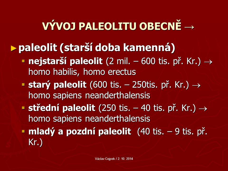 VÝVOJ PALEOLITU OBECNĚ → ► paleolit (starší doba kamenná)  nejstarší paleolit (2 mil.