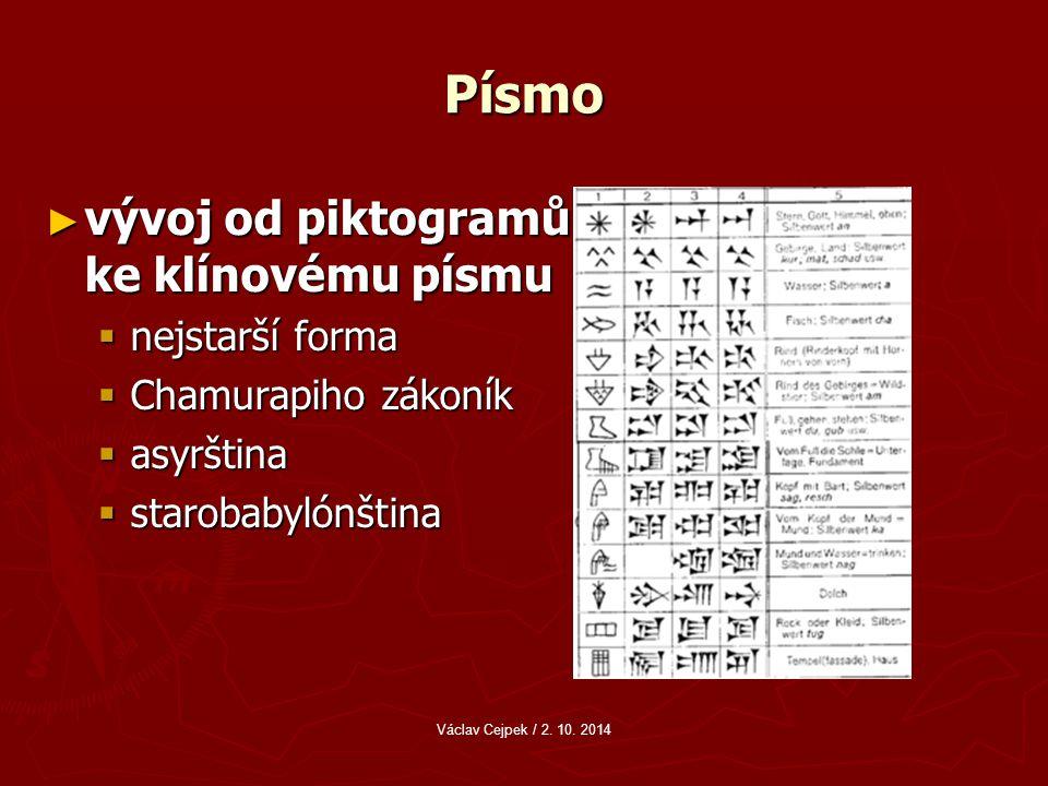 Písmo ► vývoj od piktogramů ke klínovému písmu  nejstarší forma  Chamurapiho zákoník  asyrština  starobabylónština Václav Cejpek / 2.