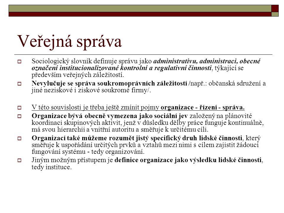 Veřejná správa  Sociologický slovník definuje správu jako administrativu, administraci, obecné označení institucionalizované kontrolní a regulativní