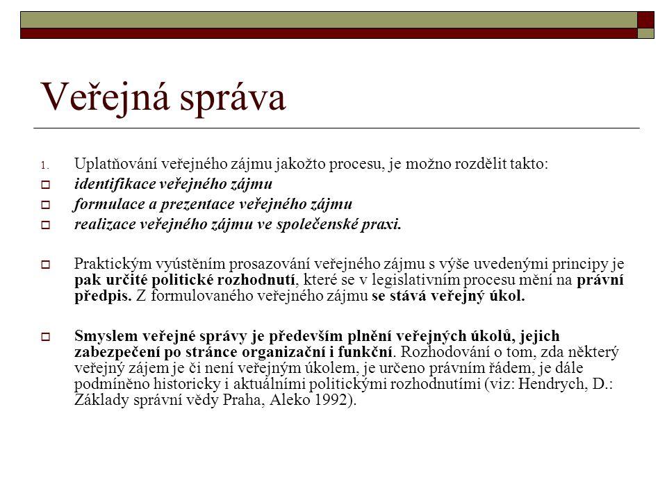Veřejná správa 1. Uplatňování veřejného zájmu jakožto procesu, je možno rozdělit takto:  identifikace veřejného zájmu  formulace a prezentace veřejn