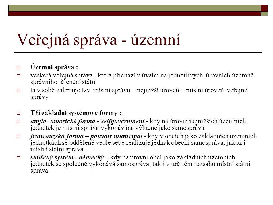 Veřejná správa - územní  Územní správa :  veškerá veřejná správa, která přichází v úvahu na jednotlivých úrovních územně správního členění státu  t