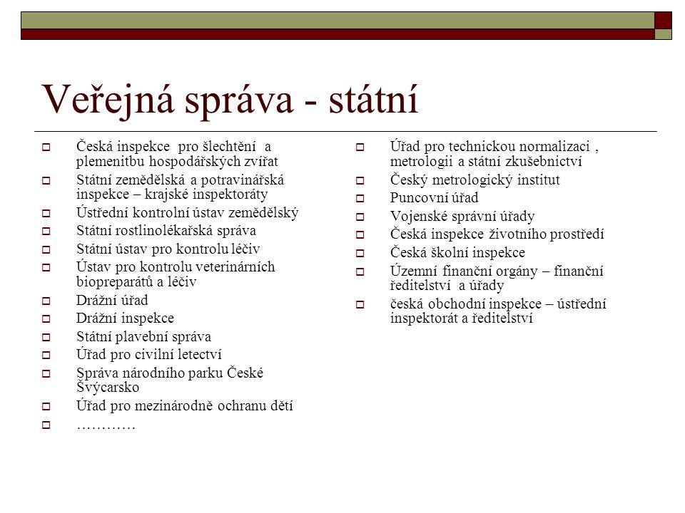 Veřejná správa - státní  Česká inspekce pro šlechtění a plemenitbu hospodářských zvířat  Státní zemědělská a potravinářská inspekce – krajské inspek