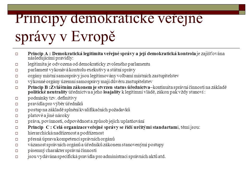 Principy demokratické veřejné správy v Evropě  Princip A : Demokratická legitimita veřejné správy a její demokratická kontrola je zajišťována následu