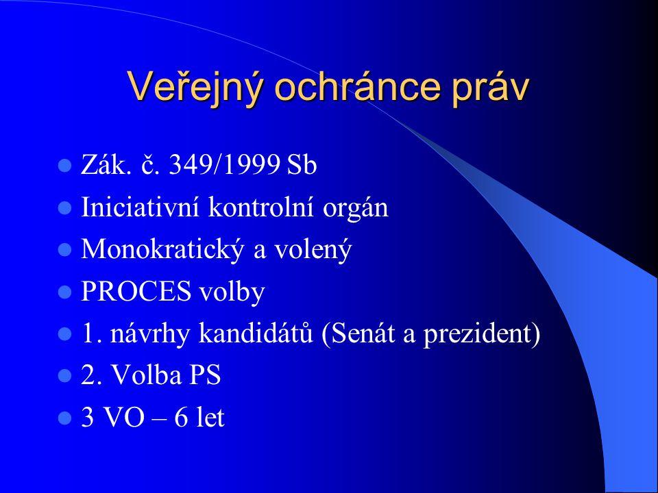 Veřejný ochránce práv Zák. č. 349/1999 Sb Iniciativní kontrolní orgán Monokratický a volený PROCES volby 1. návrhy kandidátů (Senát a prezident) 2. Vo