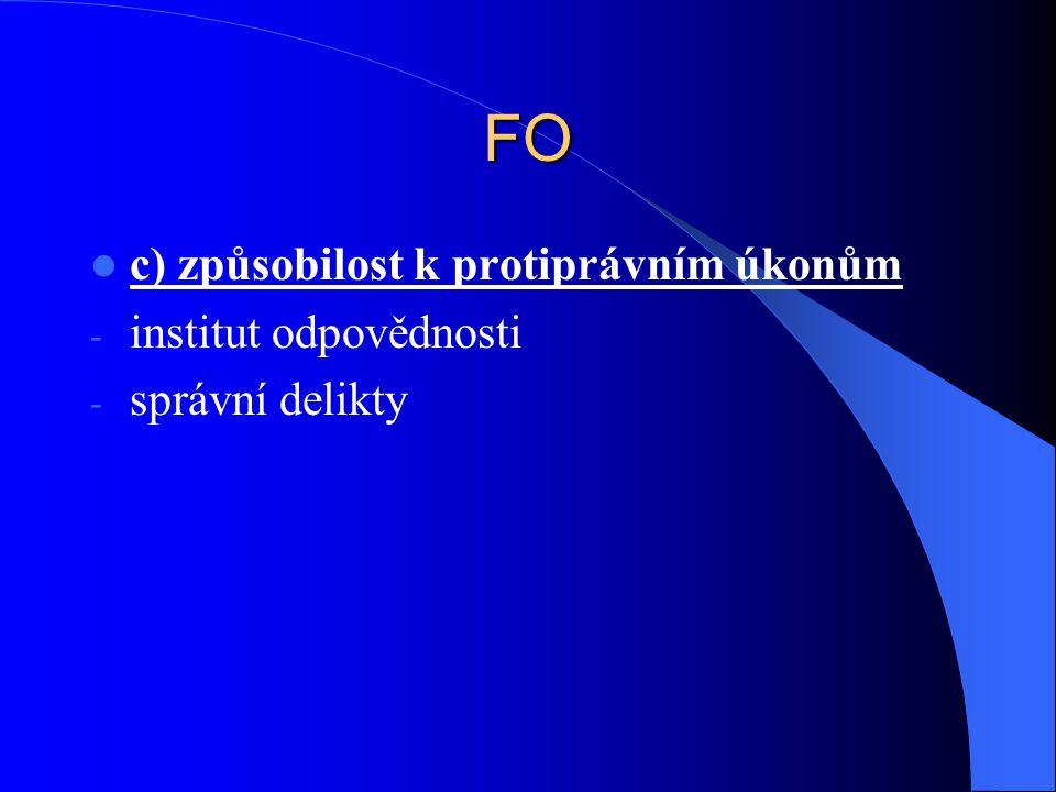 FO c) způsobilost k protiprávním úkonům - institut odpovědnosti - správní delikty