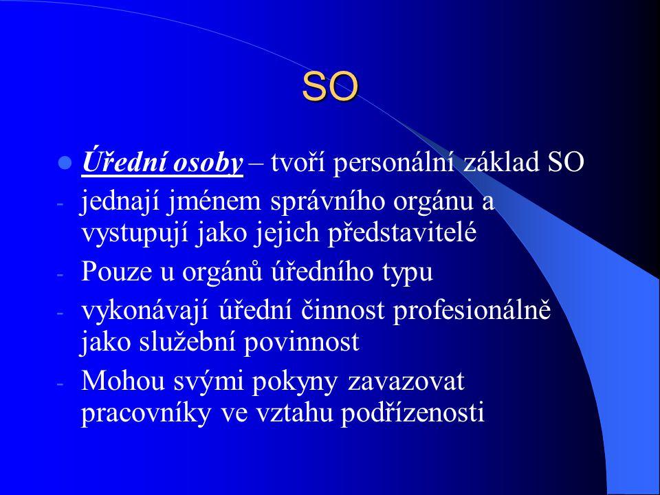 SO Úřední osoby – tvoří personální základ SO - jednají jménem správního orgánu a vystupují jako jejich představitelé - Pouze u orgánů úředního typu -