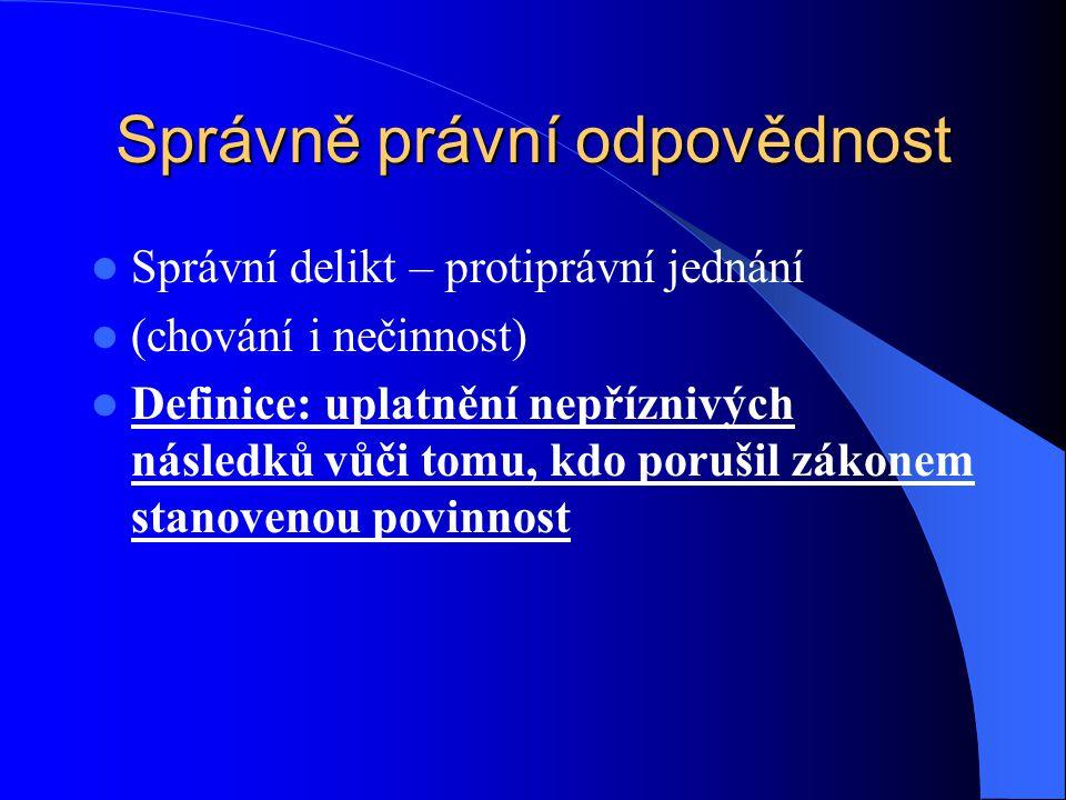 Správně právní odpovědnost Správní delikt – protiprávní jednání (chování i nečinnost) Definice: uplatnění nepříznivých následků vůči tomu, kdo porušil