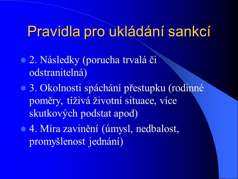 Pravidla pro ukládání sankcí 2. Následky (porucha trvalá či odstranitelná) 3. Okolnosti spáchání přestupku (rodinné poměry, tíživá životní situace, ví