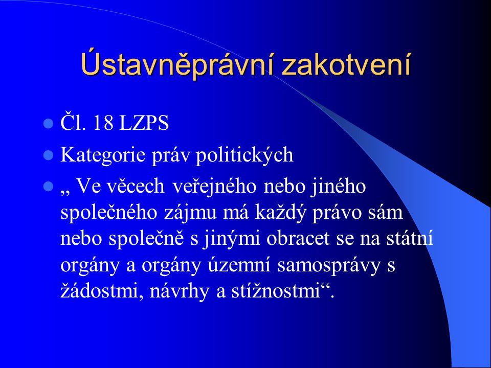 """Ústavněprávní zakotvení Čl. 18 LZPS Kategorie práv politických """" Ve věcech veřejného nebo jiného společného zájmu má každý právo sám nebo společně s j"""