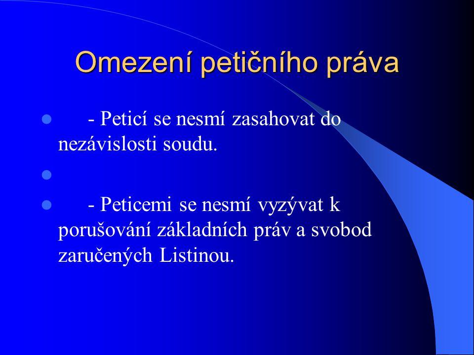 Omezení petičního práva - Peticí se nesmí zasahovat do nezávislosti soudu. - Peticemi se nesmí vyzývat k porušování základních práv a svobod zaručenýc