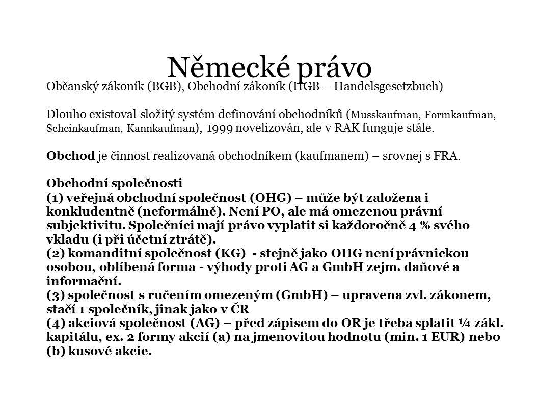 Německé právo Občanský zákoník (BGB), Obchodní zákoník (HGB – Handelsgesetzbuch) Dlouho existoval složitý systém definování obchodníků ( Musskaufman,