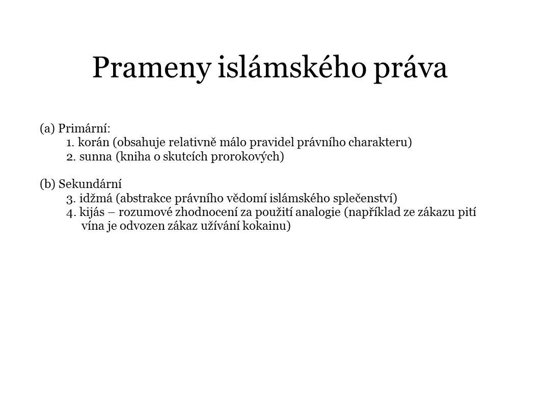 Prameny islámského práva (a) Primární: 1. korán (obsahuje relativně málo pravidel právního charakteru) 2. sunna (kniha o skutcích prorokových) (b) Sek