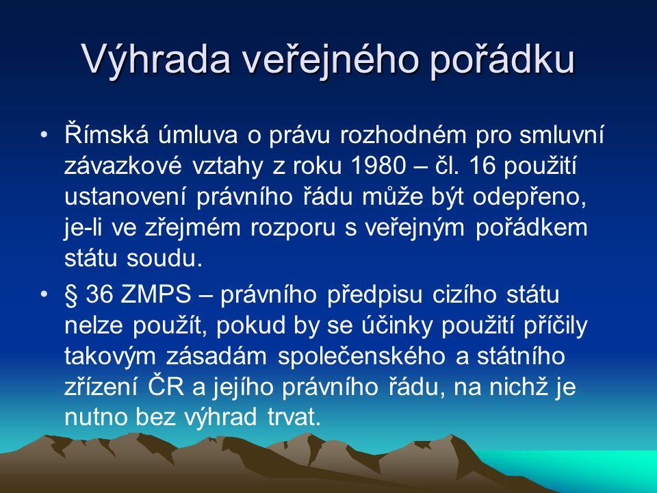 Výhrada veřejného pořádku Římská úmluva o právu rozhodném pro smluvní závazkové vztahy z roku 1980 – čl.