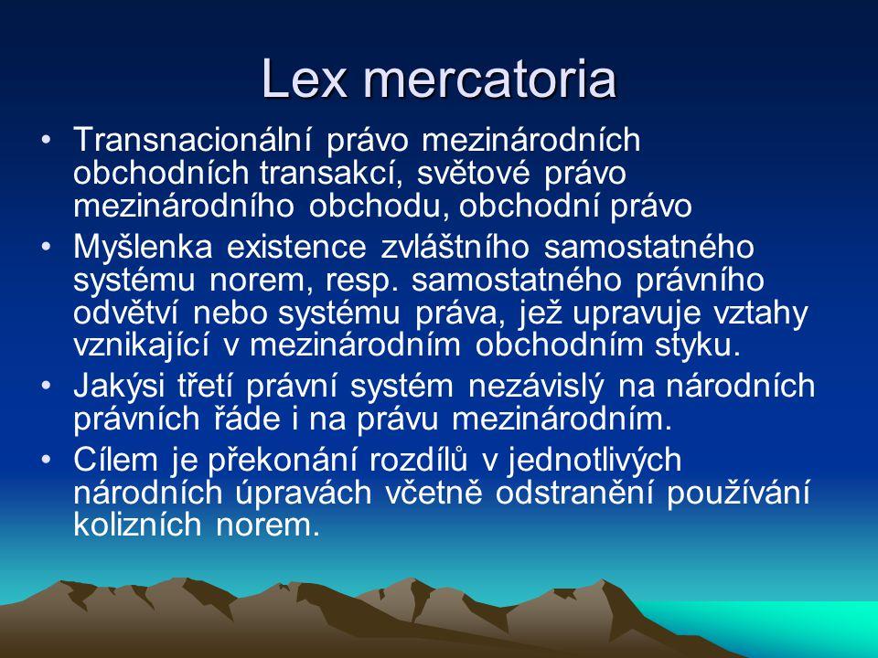 Lex mercatoria Transnacionální právo mezinárodních obchodních transakcí, světové právo mezinárodního obchodu, obchodní právo Myšlenka existence zvláštního samostatného systému norem, resp.