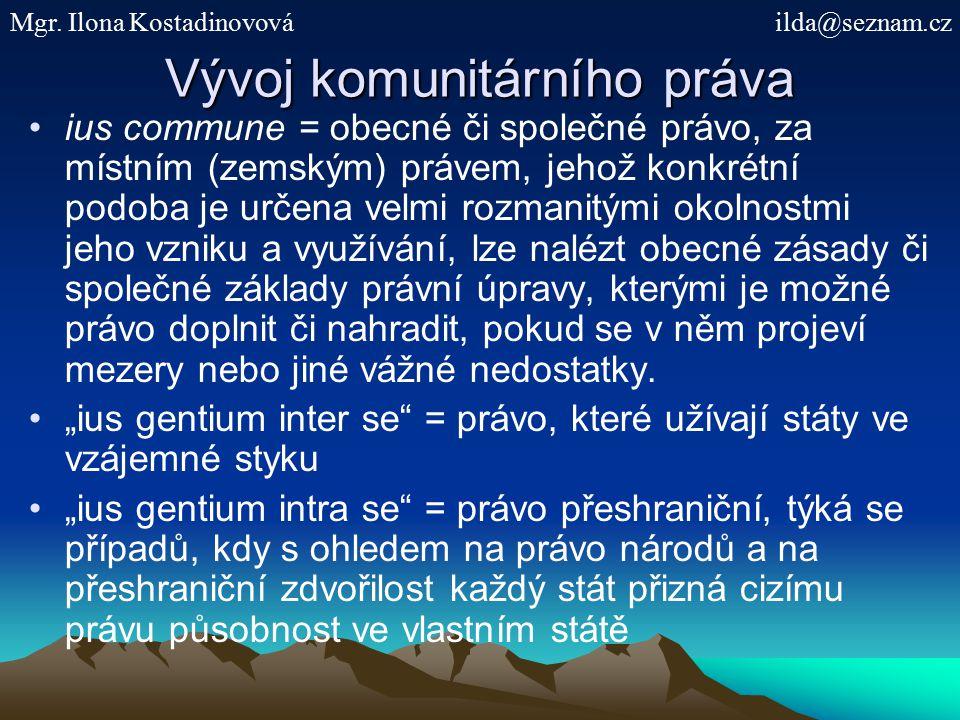 Vývoj komunitárního práva ius commune = obecné či společné právo, za místním (zemským) právem, jehož konkrétní podoba je určena velmi rozmanitými okol