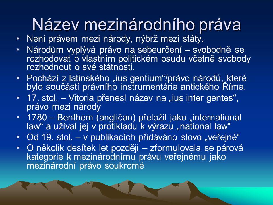 Název mezinárodního práva Není právem mezi národy, nýbrž mezi státy.