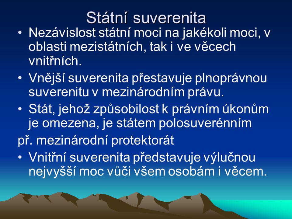 Státní suverenita Nezávislost státní moci na jakékoli moci, v oblasti mezistátních, tak i ve věcech vnitřních. Vnější suverenita přestavuje plnoprávno