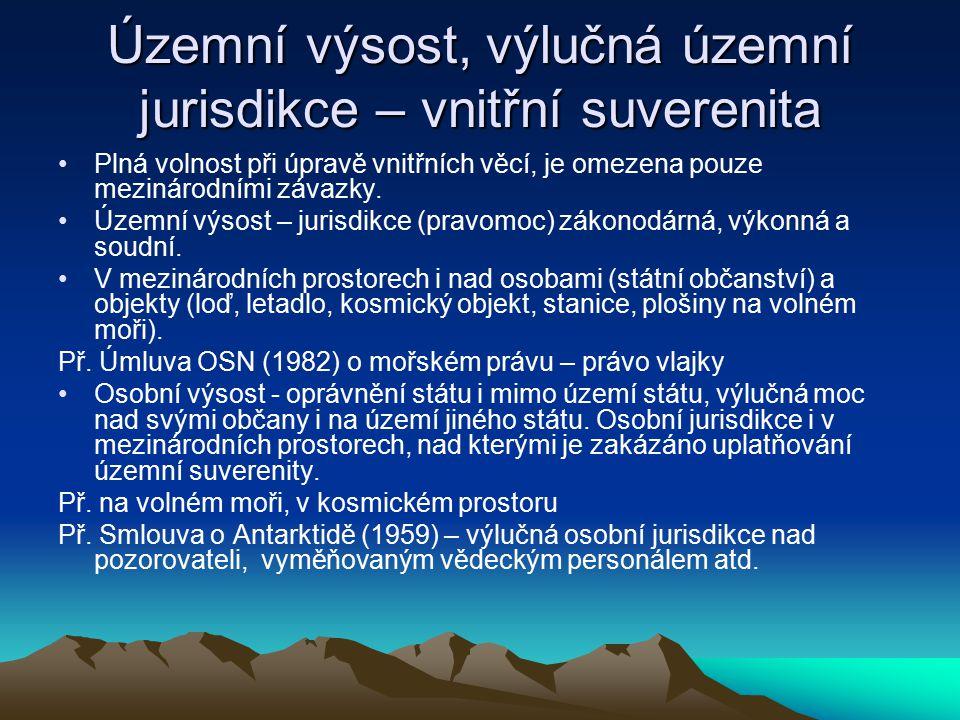 Územní výsost, výlučná územní jurisdikce – vnitřní suverenita Plná volnost při úpravě vnitřních věcí, je omezena pouze mezinárodními závazky.