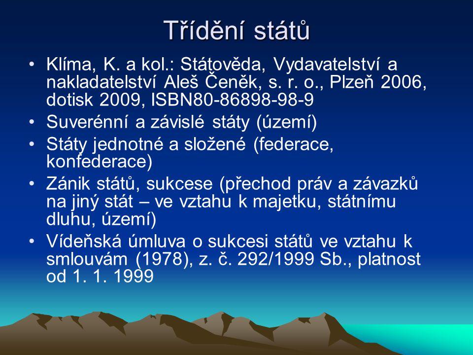 Třídění států Klíma, K. a kol.: Státověda, Vydavatelství a nakladatelství Aleš Čeněk, s. r. o., Plzeň 2006, dotisk 2009, ISBN80-86898-98-9 Suverénní a