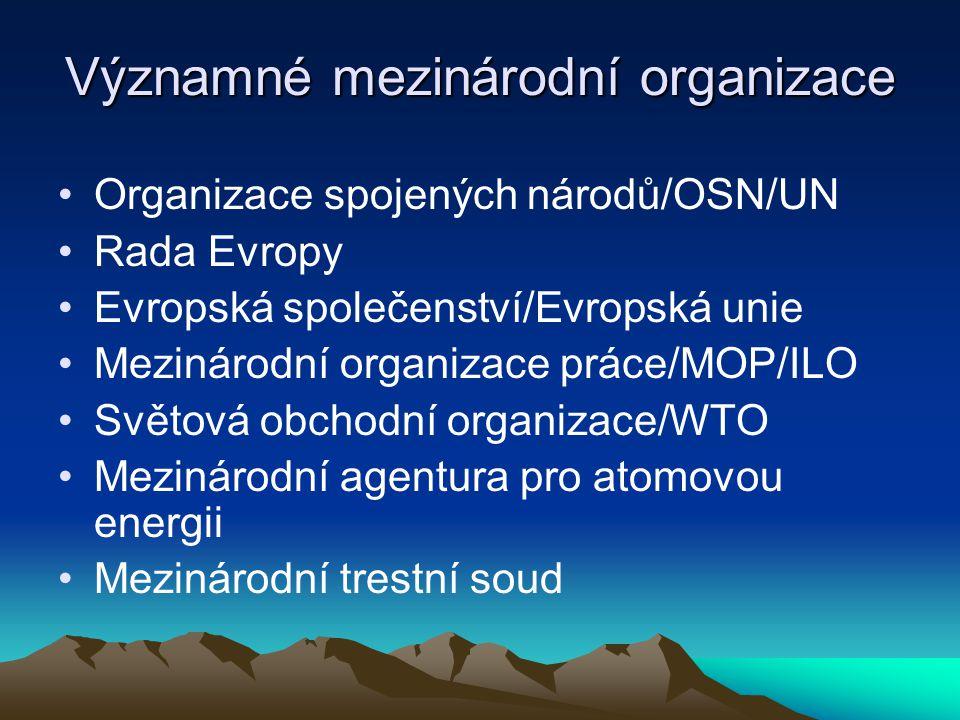 Významné mezinárodní organizace Organizace spojených národů/OSN/UN Rada Evropy Evropská společenství/Evropská unie Mezinárodní organizace práce/MOP/ILO Světová obchodní organizace/WTO Mezinárodní agentura pro atomovou energii Mezinárodní trestní soud