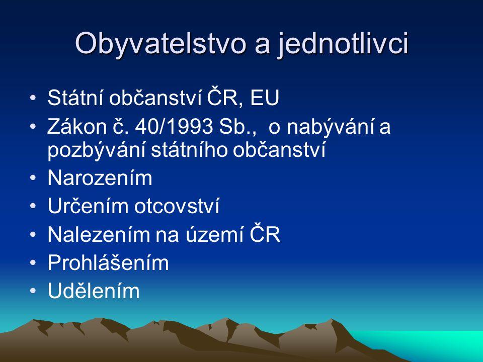 Obyvatelstvo a jednotlivci Státní občanství ČR, EU Zákon č.