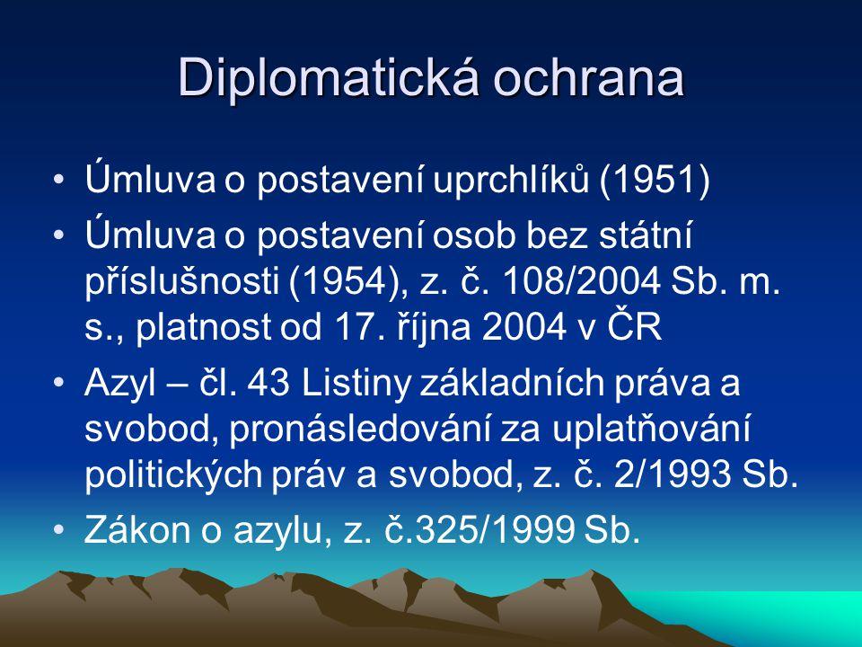 Diplomatická ochrana Úmluva o postavení uprchlíků (1951) Úmluva o postavení osob bez státní příslušnosti (1954), z. č. 108/2004 Sb. m. s., platnost od
