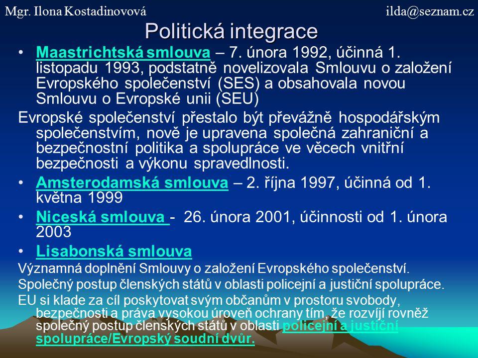 Politická integrace Maastrichtská smlouva – 7.února 1992, účinná 1.