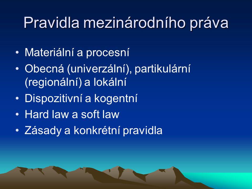 Pravidla mezinárodního práva Materiální a procesní Obecná (univerzální), partikulární (regionální) a lokální Dispozitivní a kogentní Hard law a soft law Zásady a konkrétní pravidla