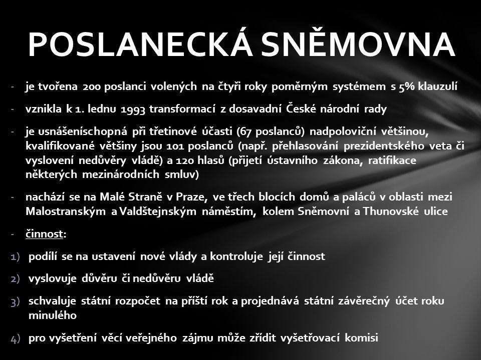 -volby se konají tajným hlasováním na základě všeobecného, rovného a přímého volebního práva, podle zásady poměrného zastoupení (200 mandátů se rozdělí v poměru podle počtu odevzdaných platných hlasů v krajích) -právo volit má každý občan České republiky, který dosáhl věku 18 let a není zbaven svéprávnosti, právo být volen má každý občan starší 21 let s volebním právem -nemůže být rozpuštěna tři měsíce před skončením jejího volebního období, jinak může být rozpuštěna prezidentem jen z ústavou stanovených důvodů, např.